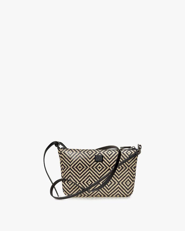 Crossbody-Tasche schwarz-weißes Leder