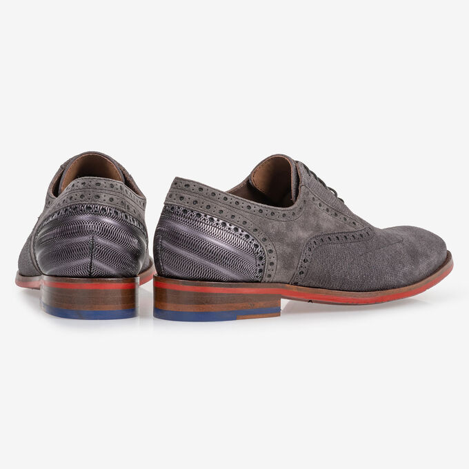 Lace shoe dark grey with print