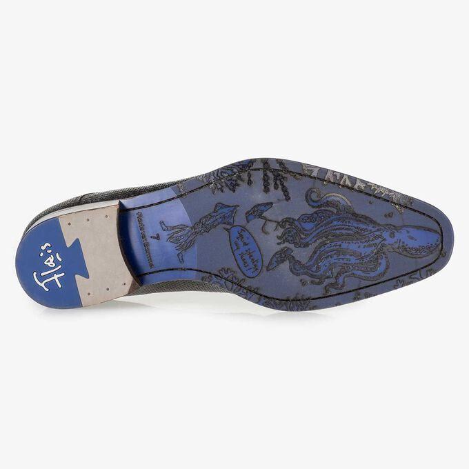 Dunkelblauer Leder-Schnürschuh mit Metallic-Print