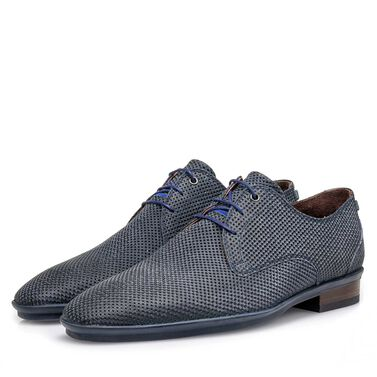 Suede leather lace shoe with a print