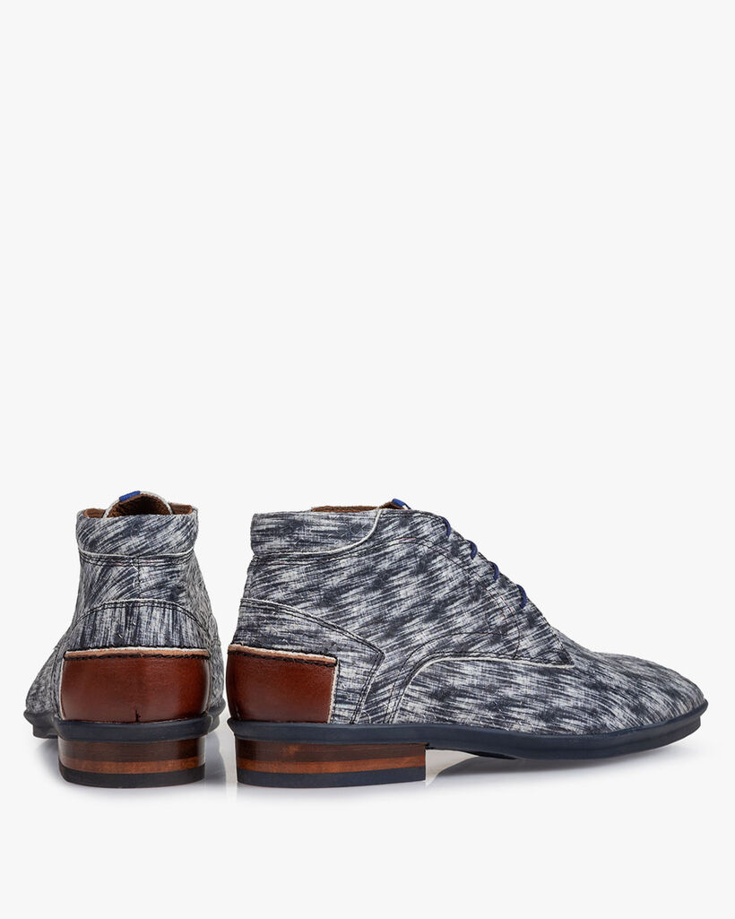 Stiefel Nubukleder schwarz-weiß