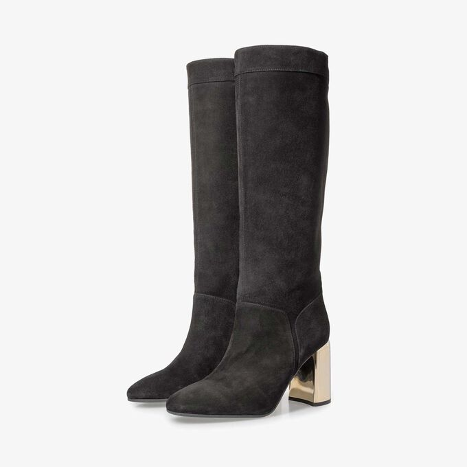 Black suede leather high boots