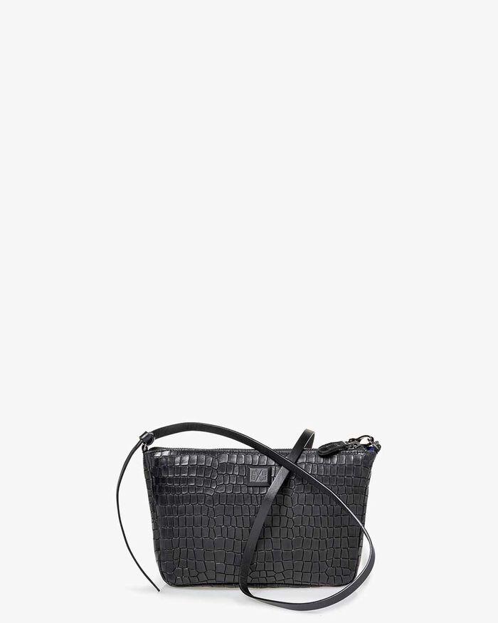 Crossbody-Tasche Reptilienprint schwarz