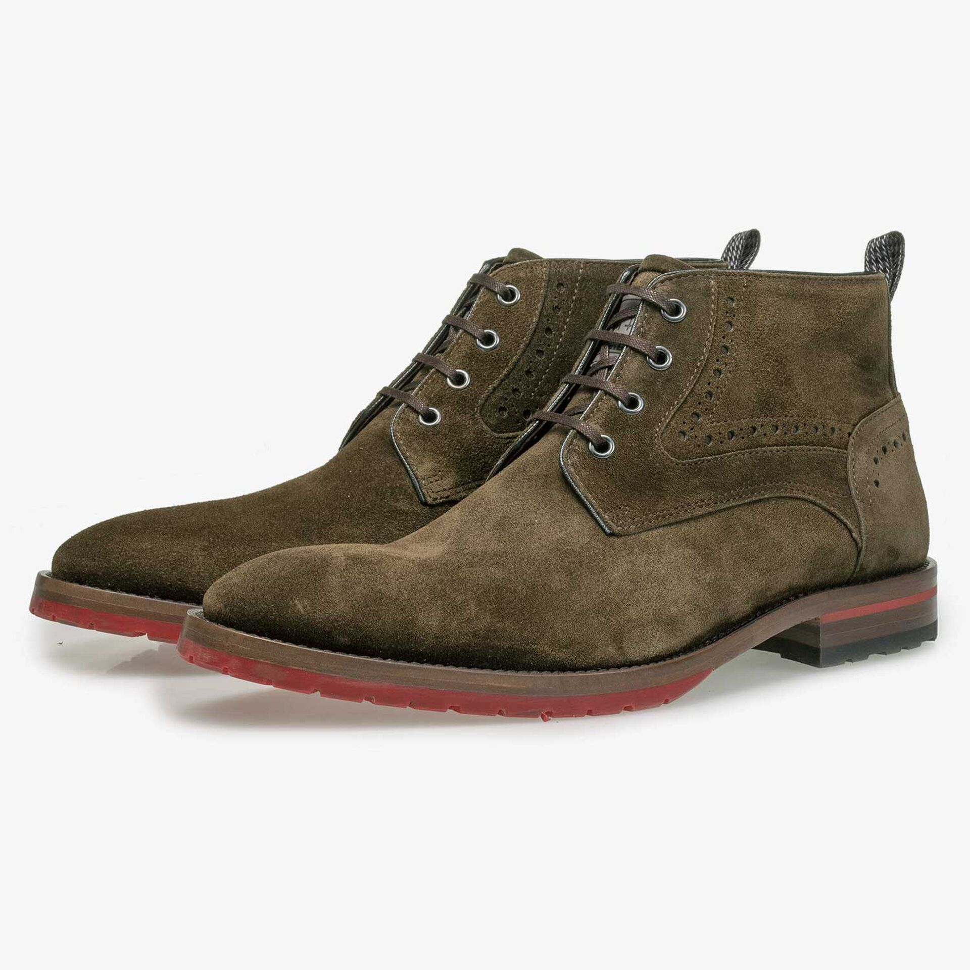 Brown/Olive green suede leather lace shoe
