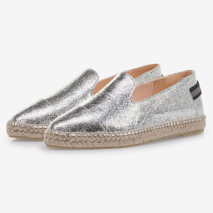 Silver leather espadrilles with metallic print