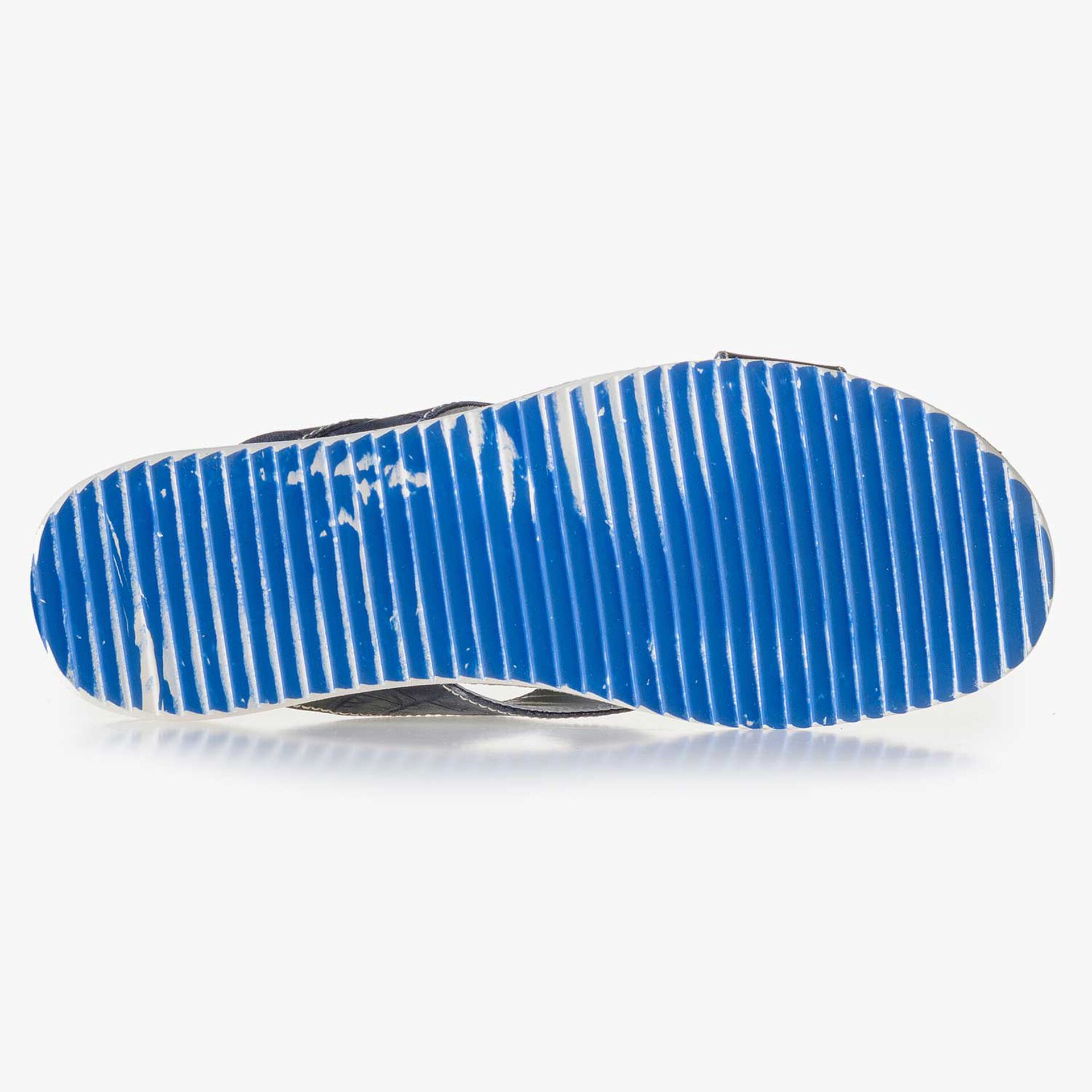 Dark blue leather slipper with cross straps and croco print