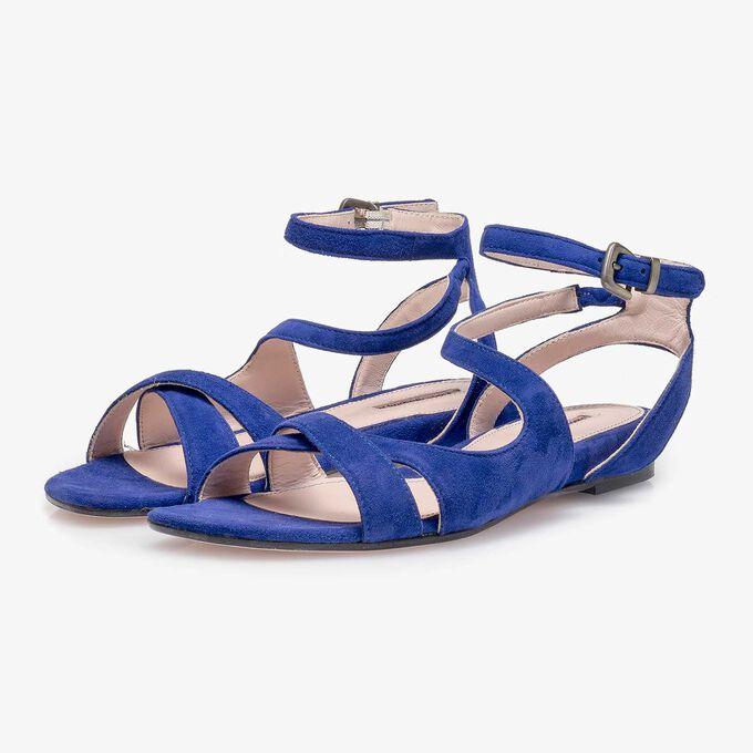 Kobaltblaue Wildleder-Sandale
