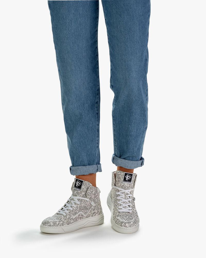 Sneaker Leder mit Print schwarz-weiß