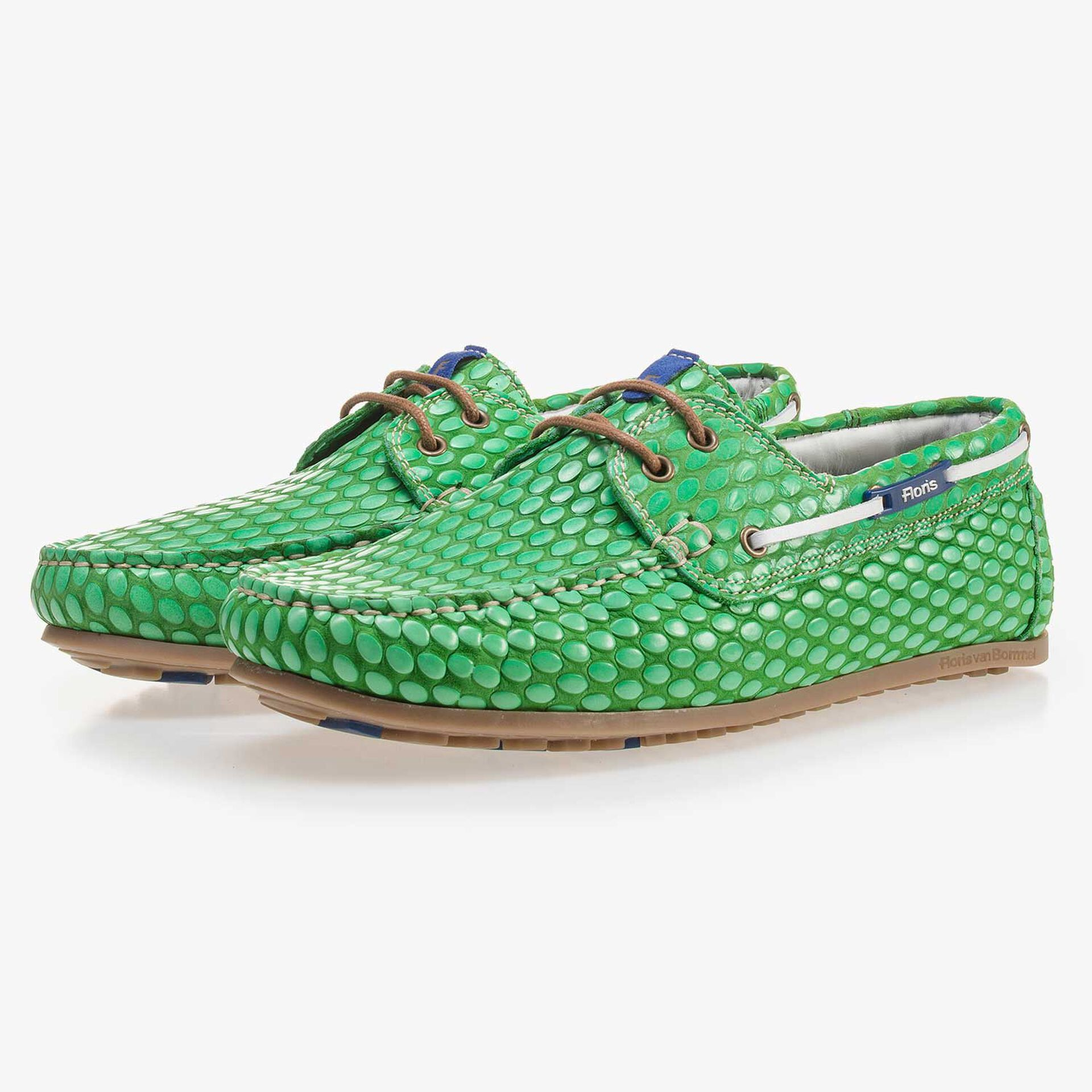 Grüner, bedruckter Leder Bootsschuh