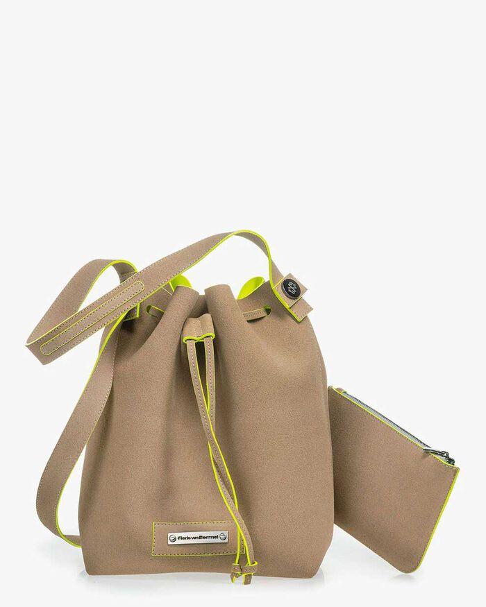 Hobo bag suede leather beige