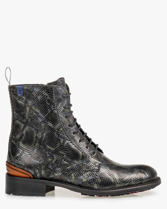 Lace boot reptile print green