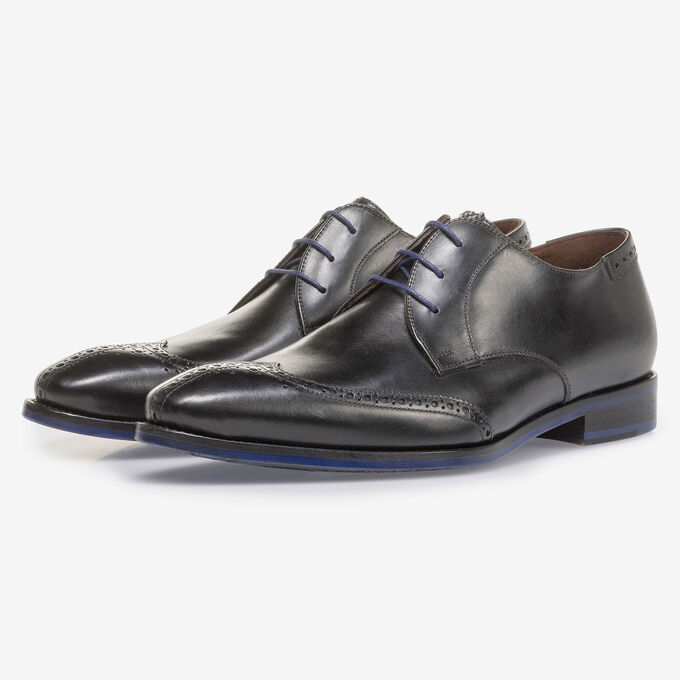 Black calf leather brogue lace shoe