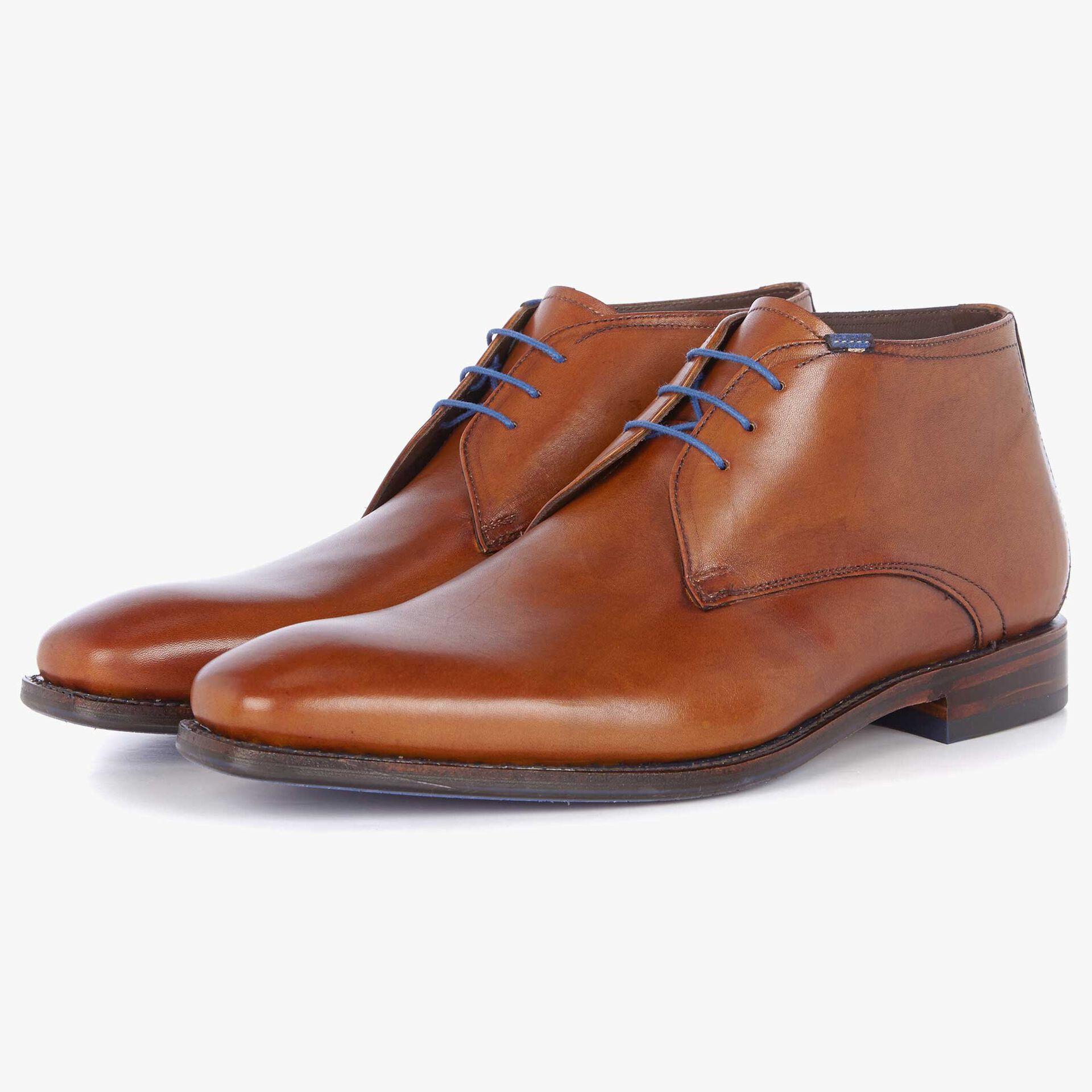 Floris van Bommel cognac leather men's lace-up boot