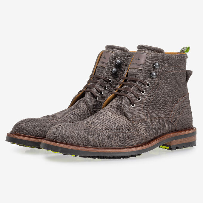 Boot lizard print grey