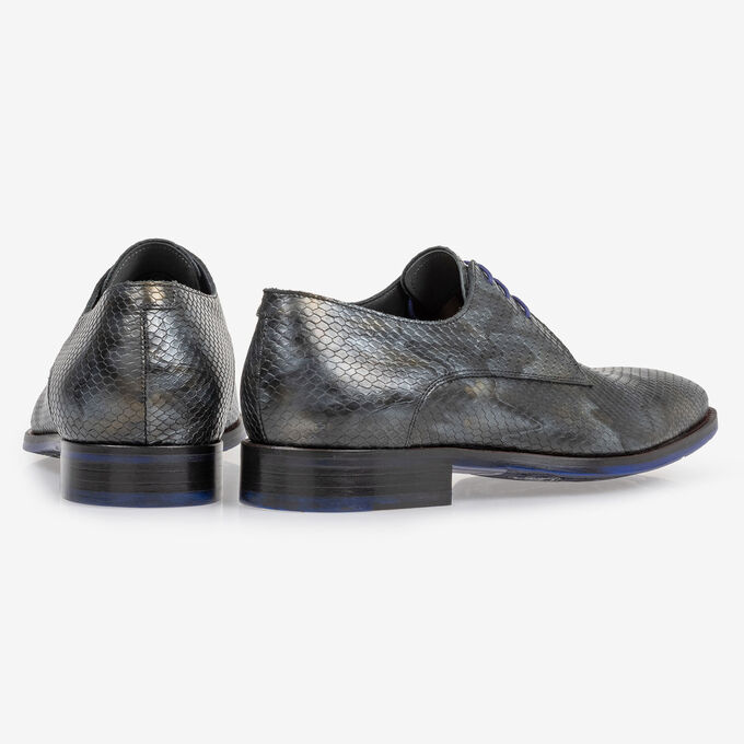 Schnürschuh metallic grau