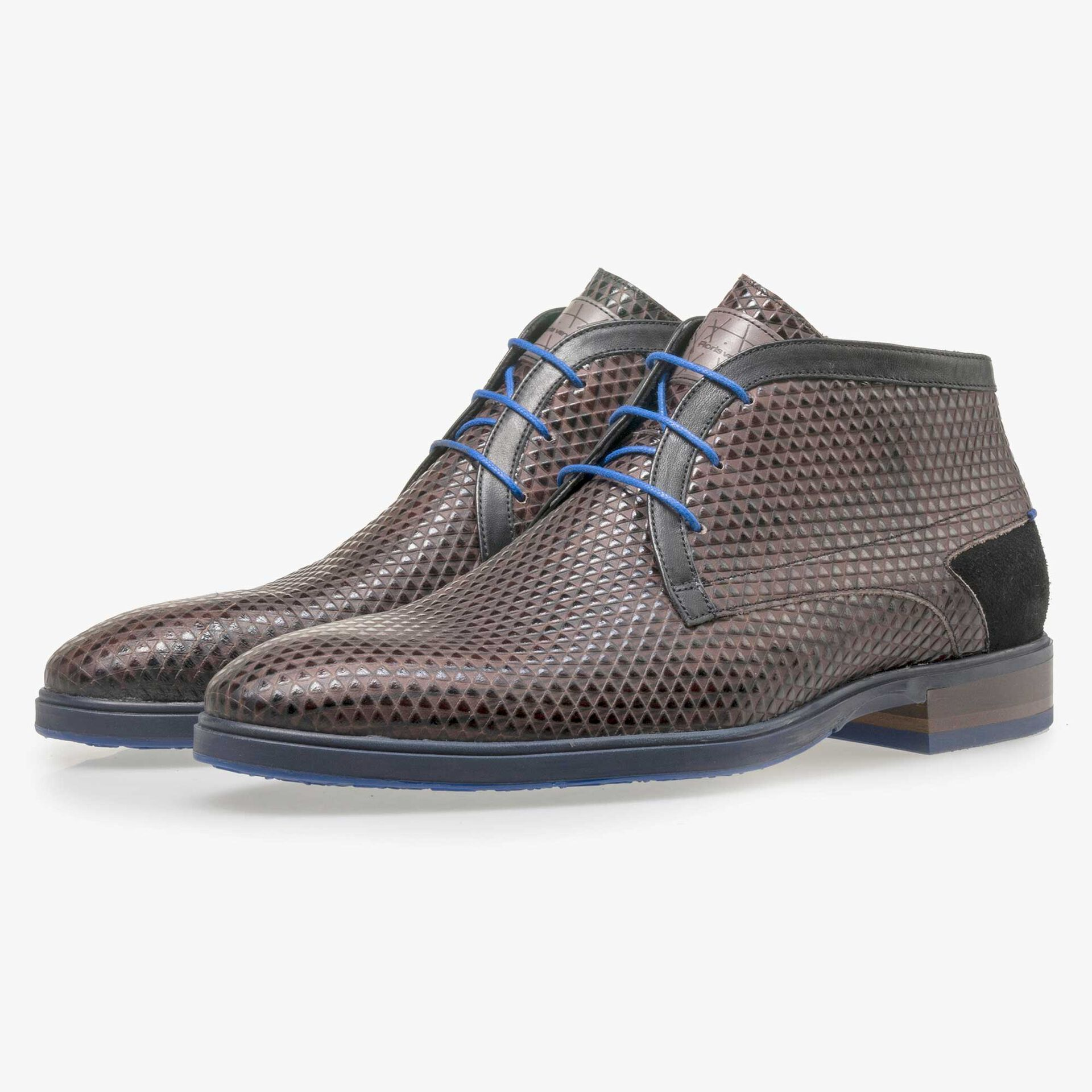 Floris van Bommel men's brown lace boot finished with a triangular pattern