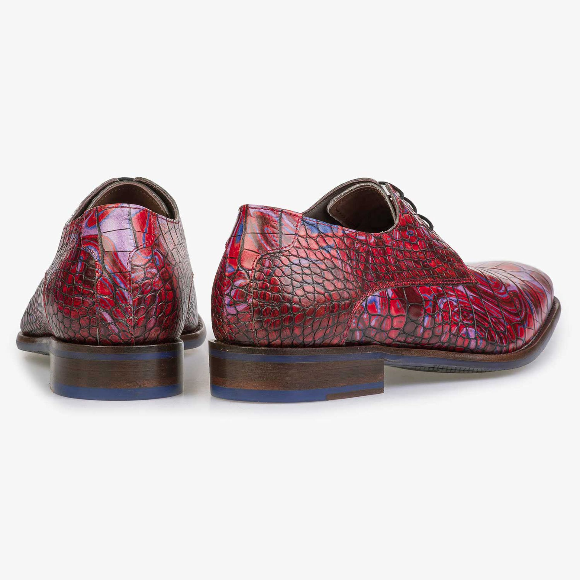 Red Premium croco print lace shoe