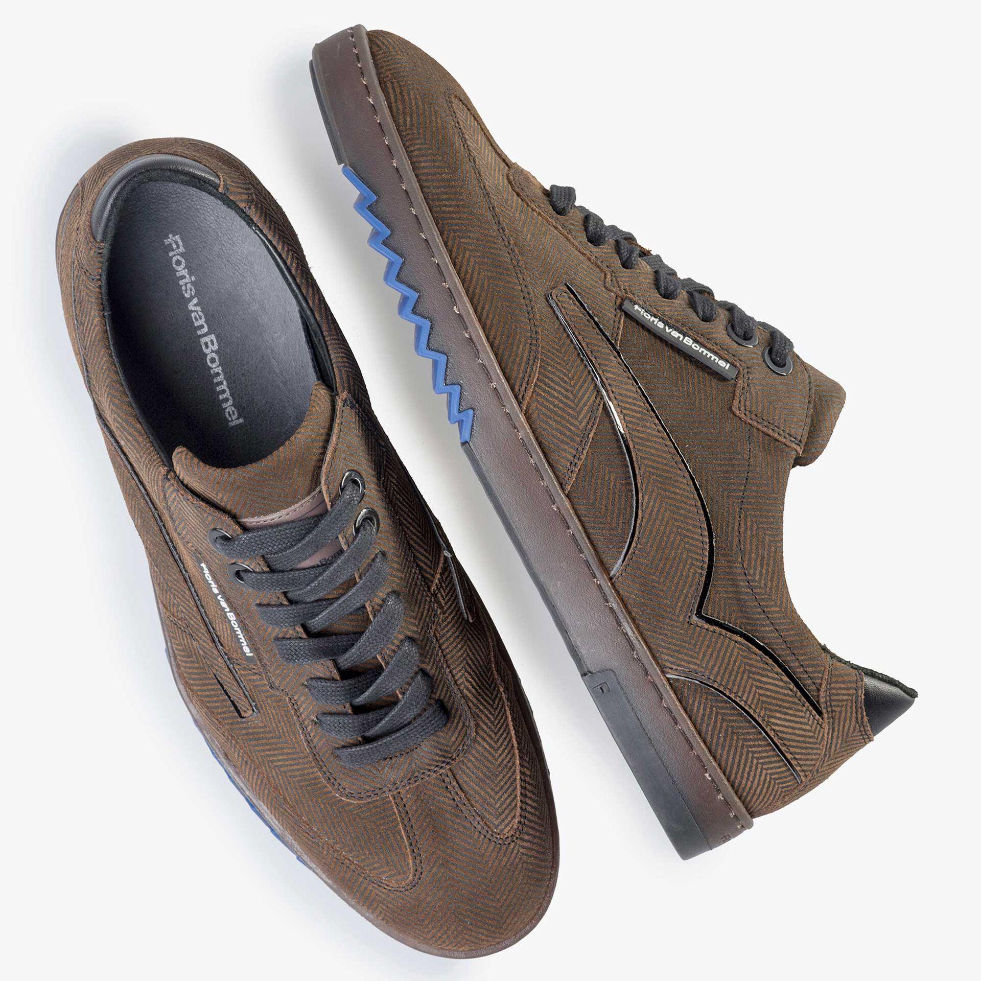 Floris van Bommel men's brown suede leather sneaker finished with a herringbone print