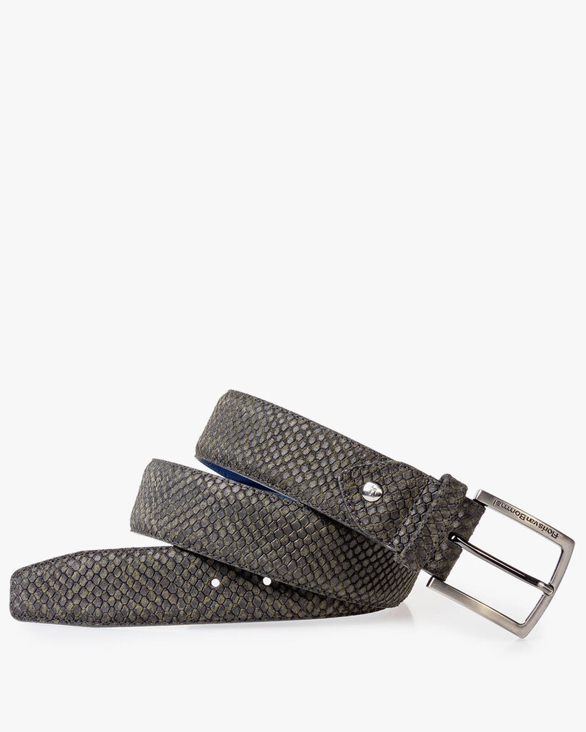 Suede leather belt green