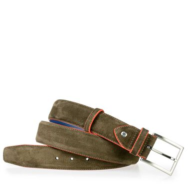 Suede leather belt with red accents
