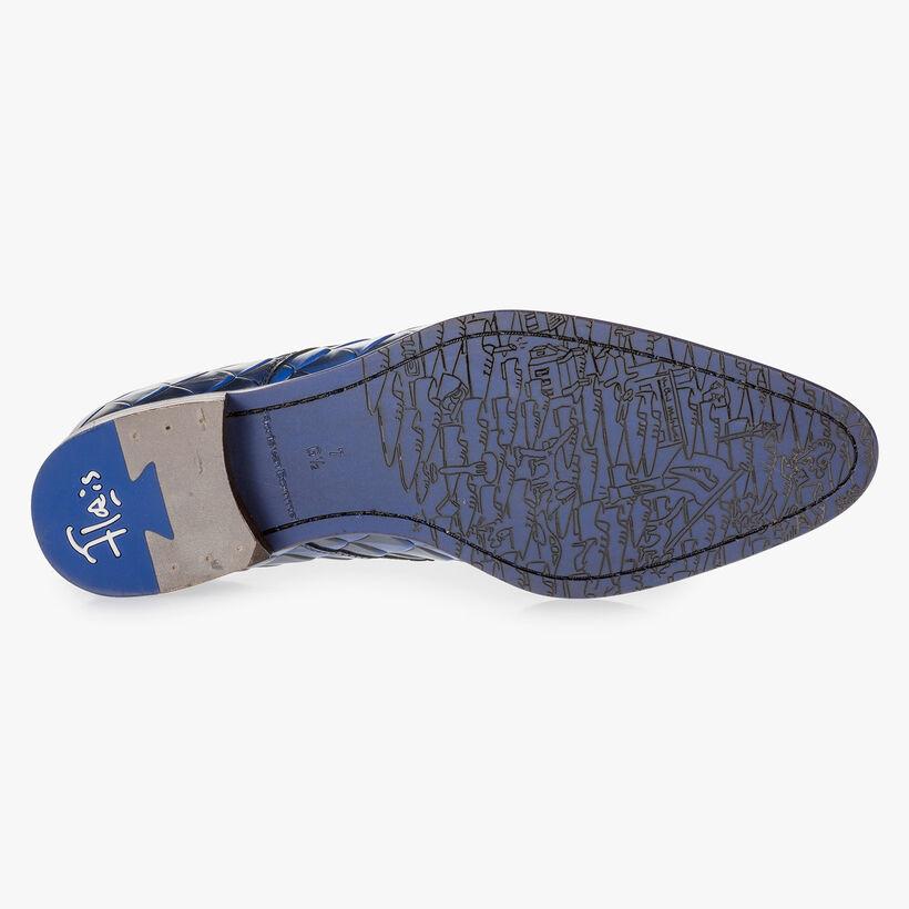 Blauer Premium Leder-Schnürschuh mit Print