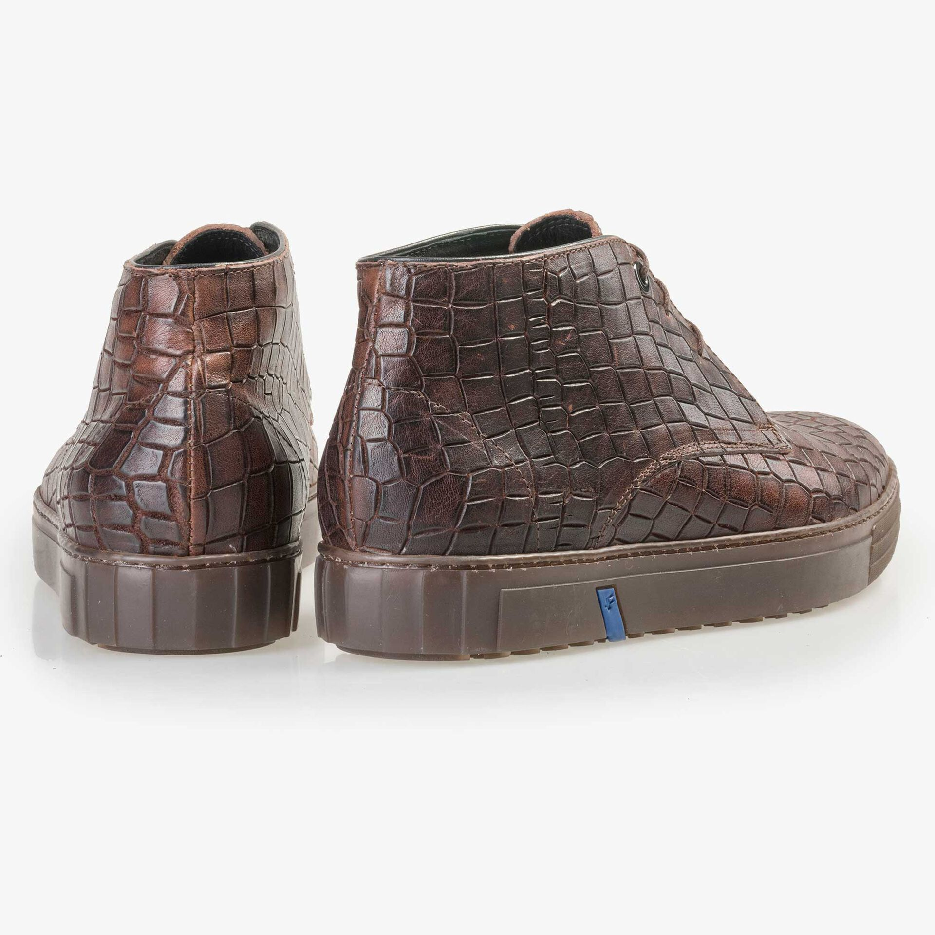 Floris van Bommel men's mid-high brown city sneaker finished with a crocodile print