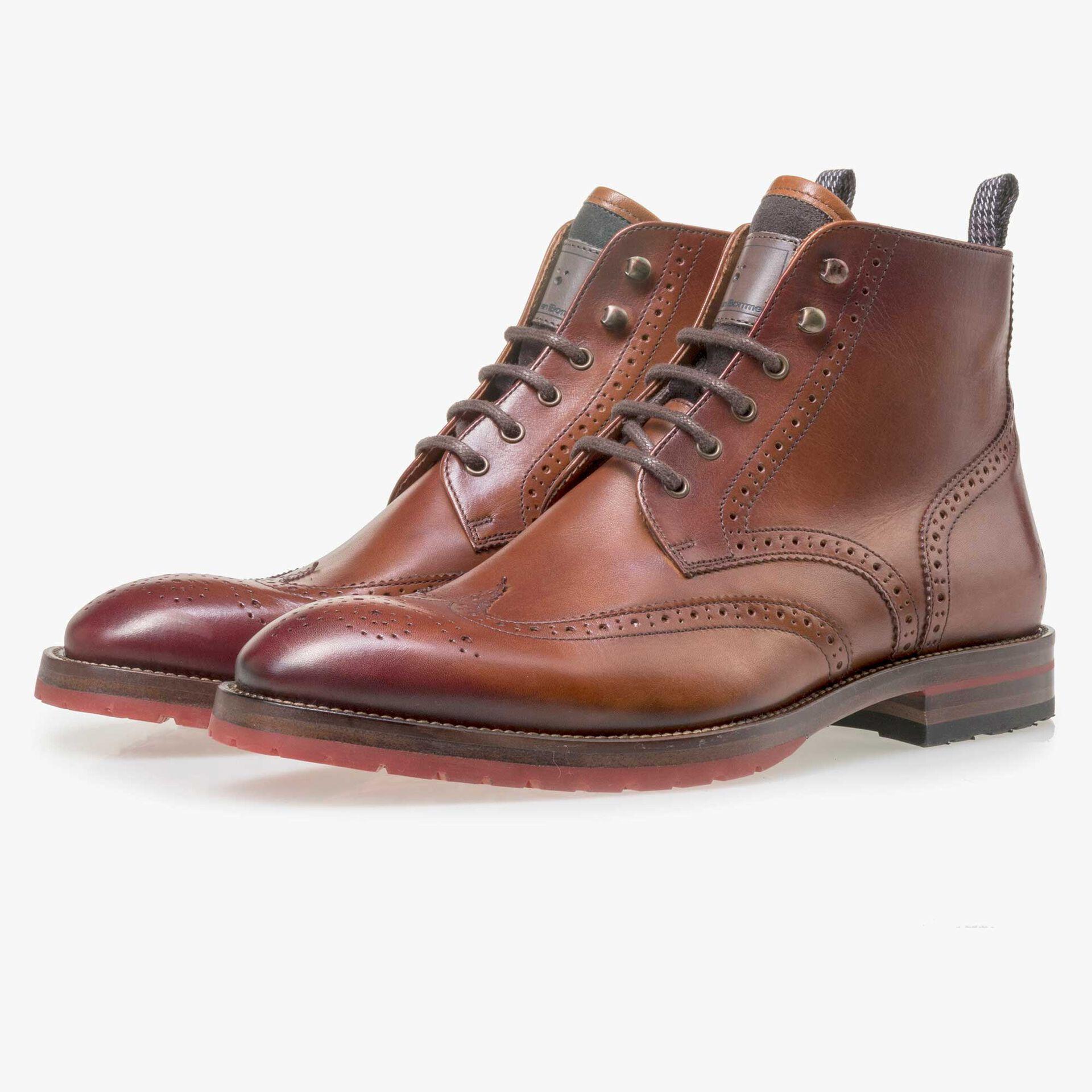 Floris van Bommel men's cognac-coloured brogue leather lace boot