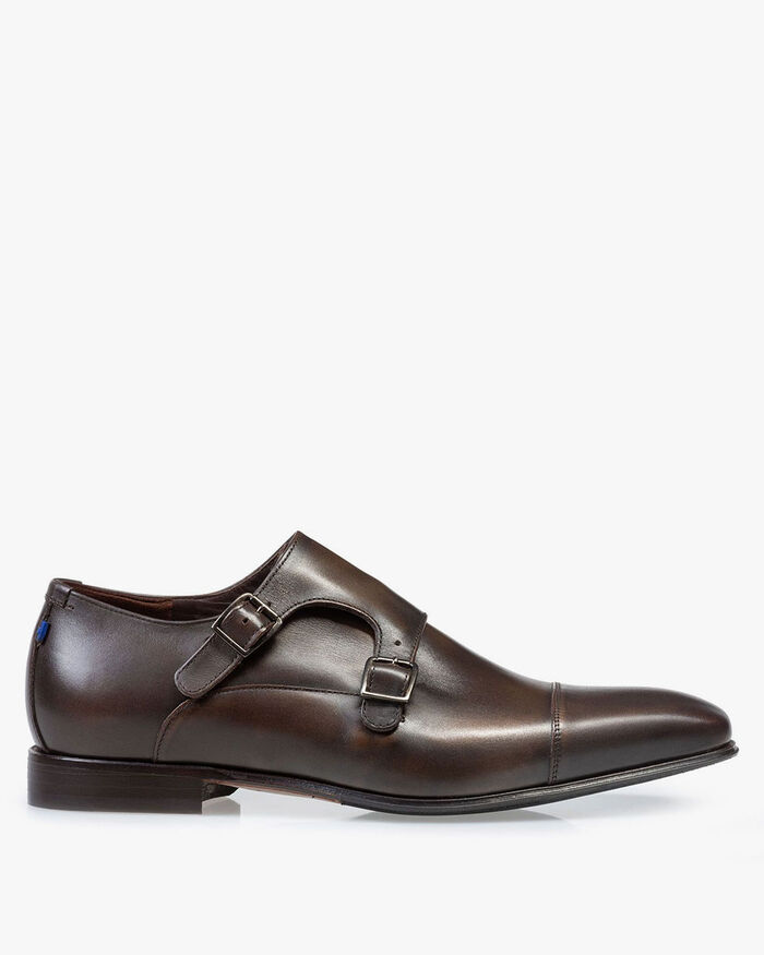 Monk strap calf leather dark brown