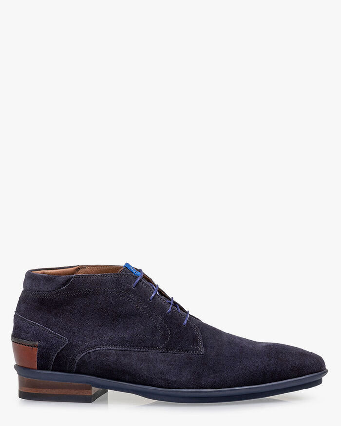 Lace boot suede blue