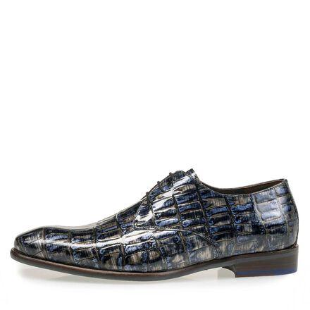 Lackleder-Schnürschuh mit Krokoprint