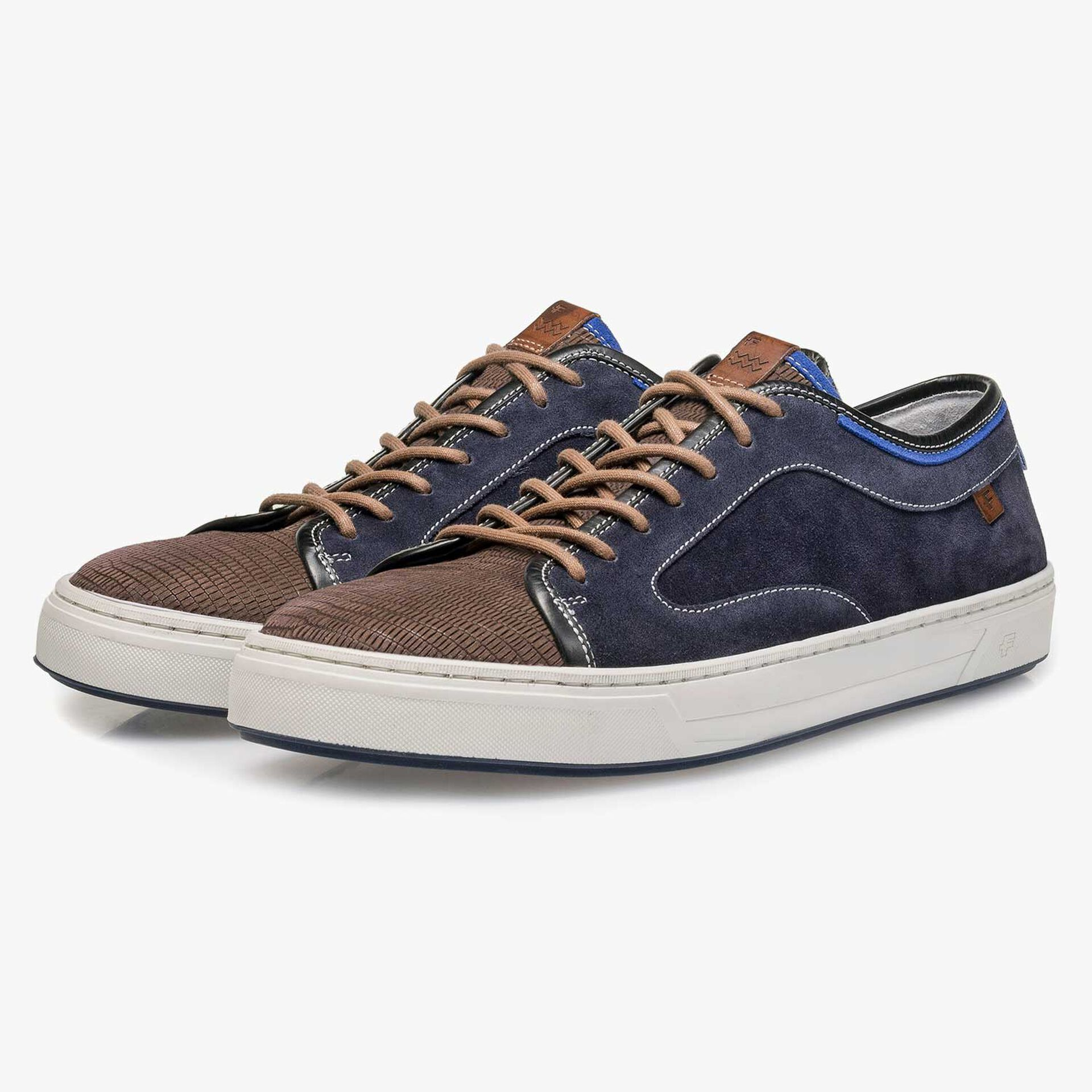 Dark grey & blue lizard print suede leather sneaker