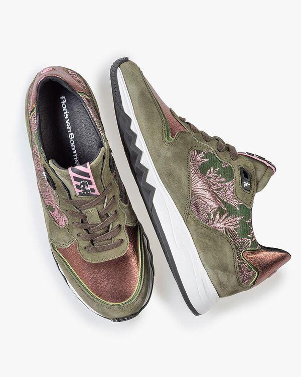 Sneaker olivgrün mit Print