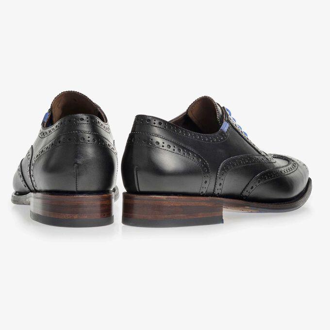 Black brogue calf's leather lace shoe