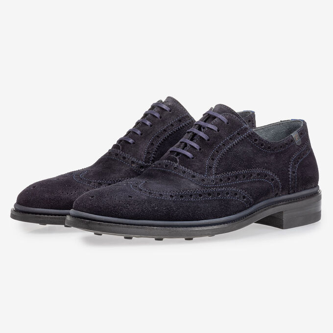 Brogue suede leather dark blue