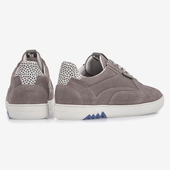 Grauer Wildleder-Sneaker mit Print