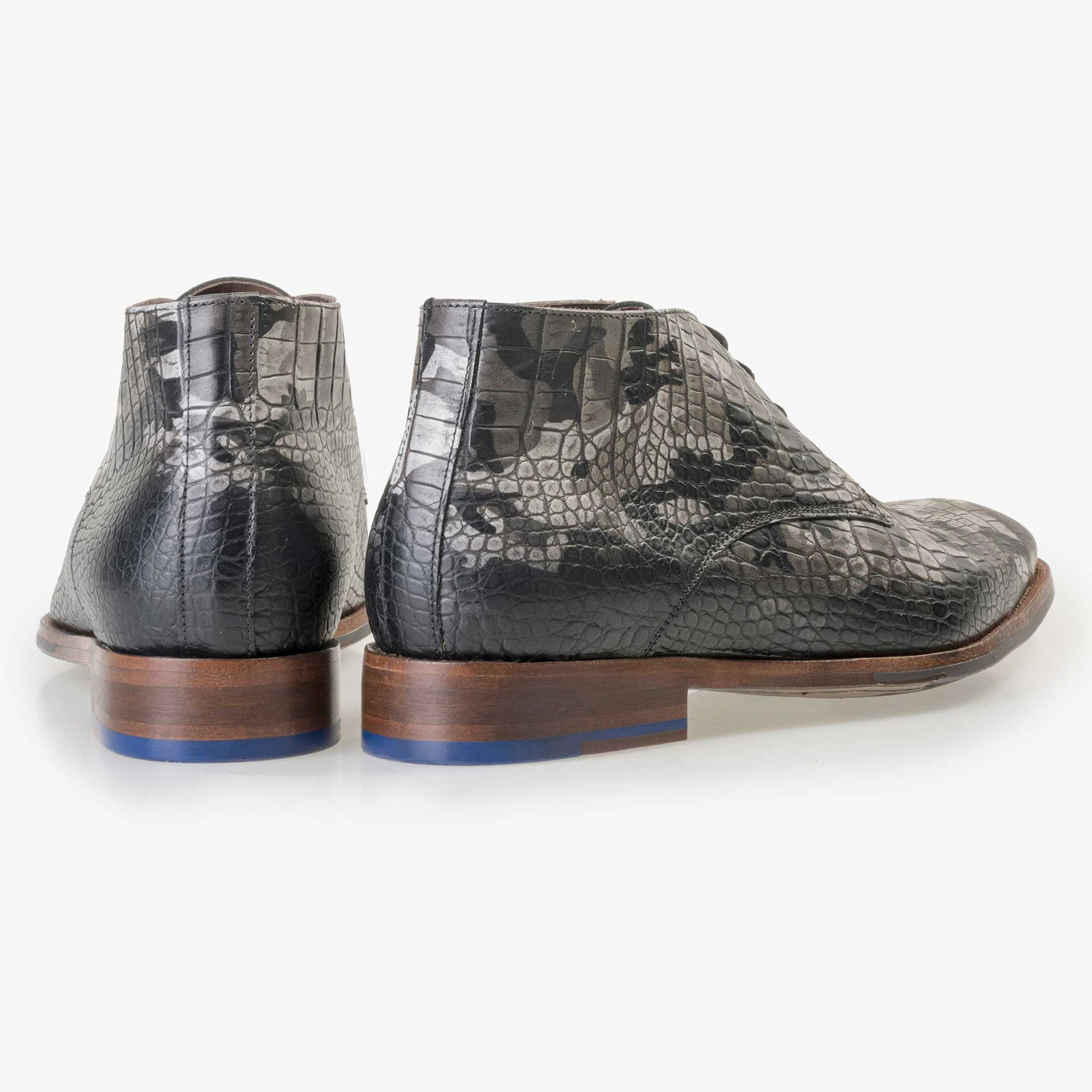 Floris van Bommel Premium men's grey croco print lace boot