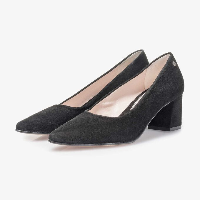Schwarze Wildleder-Pumps
