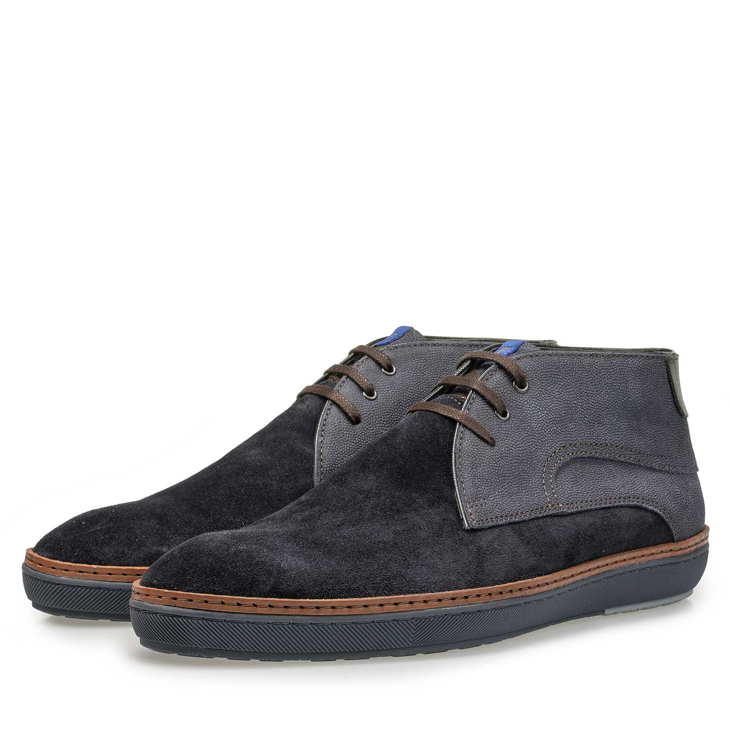 10015/04 - Dark blue calf's suede leather lace boot