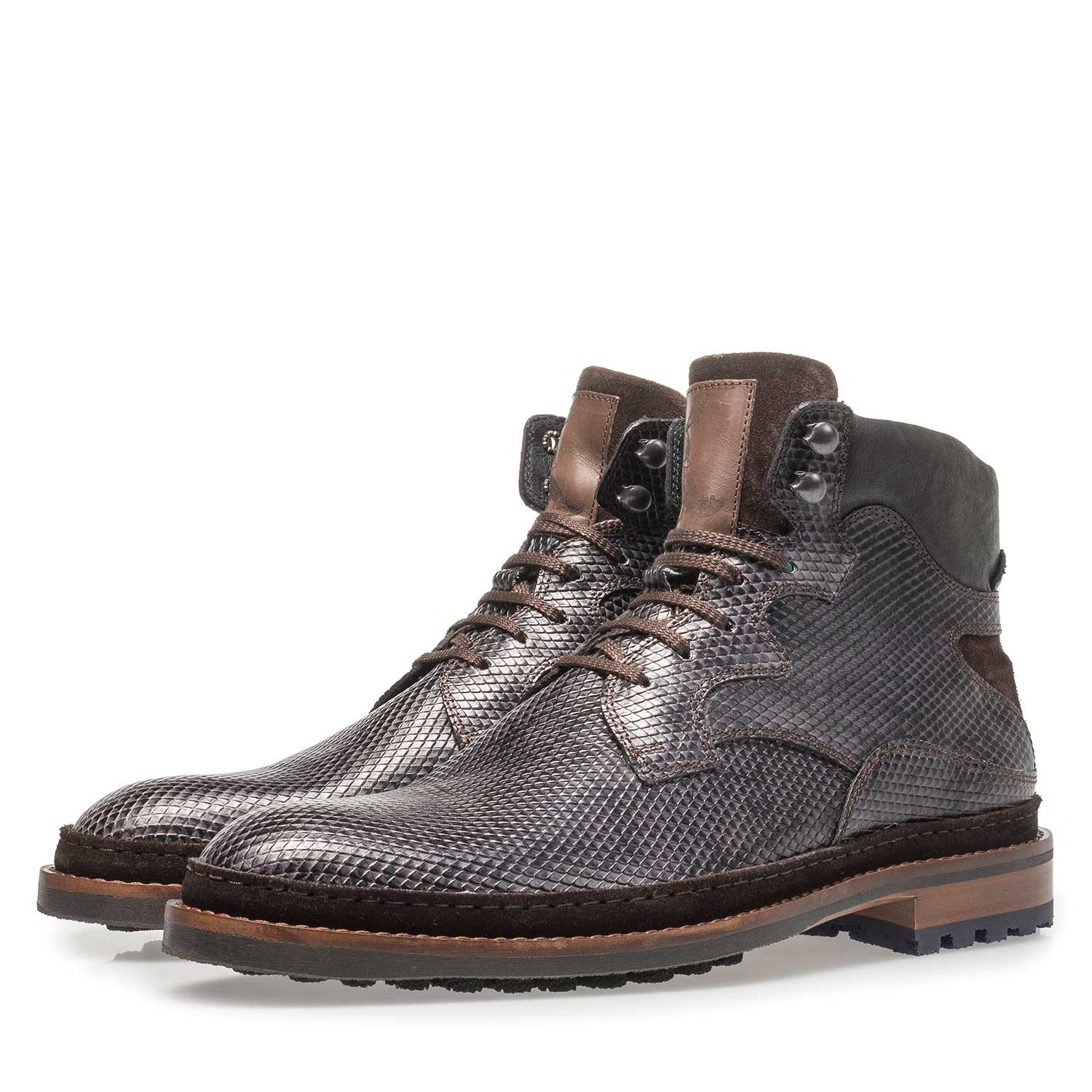 10503/04 - Dark grey leather lace boot with snake print