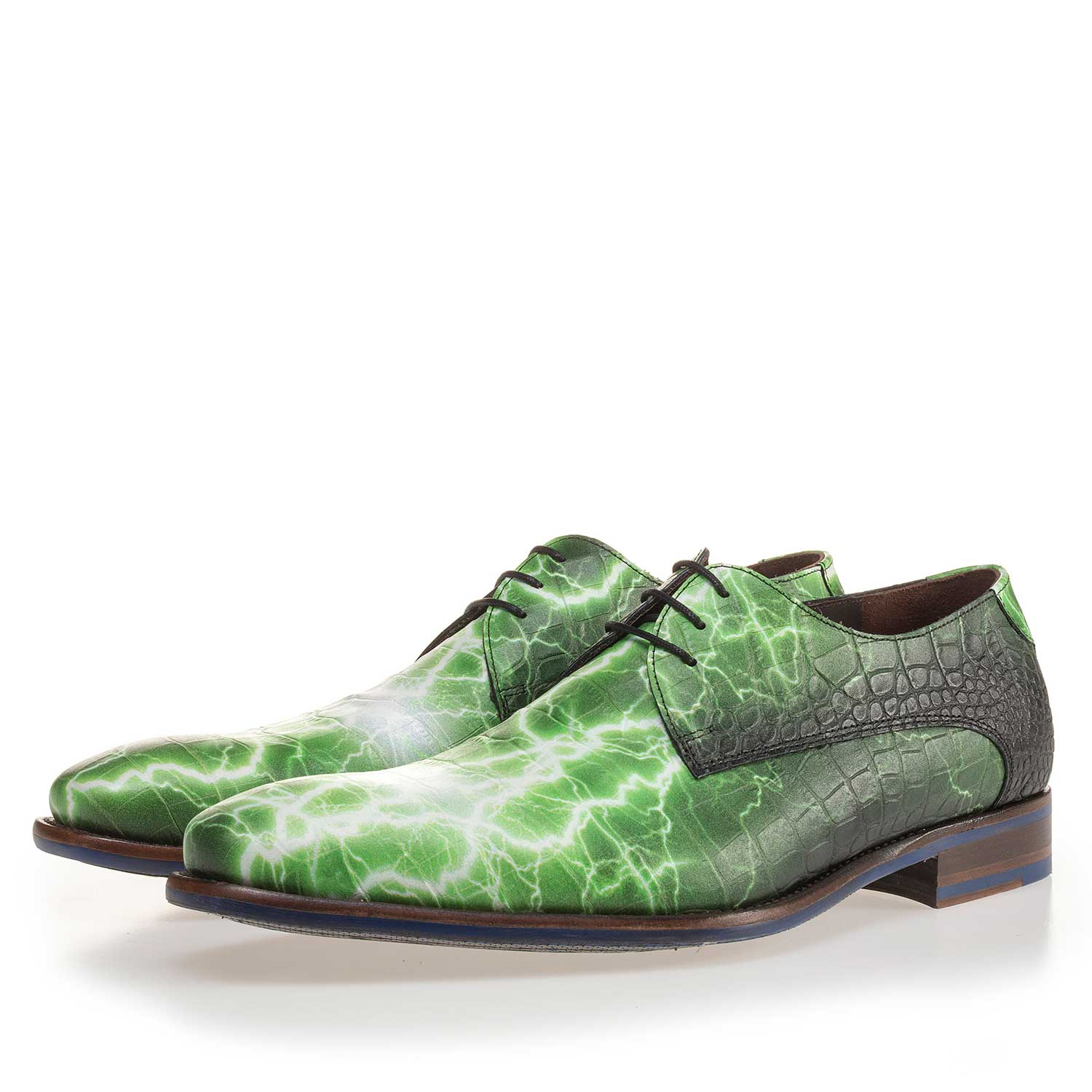 14267/01 - Premium green printed leather lace shoe