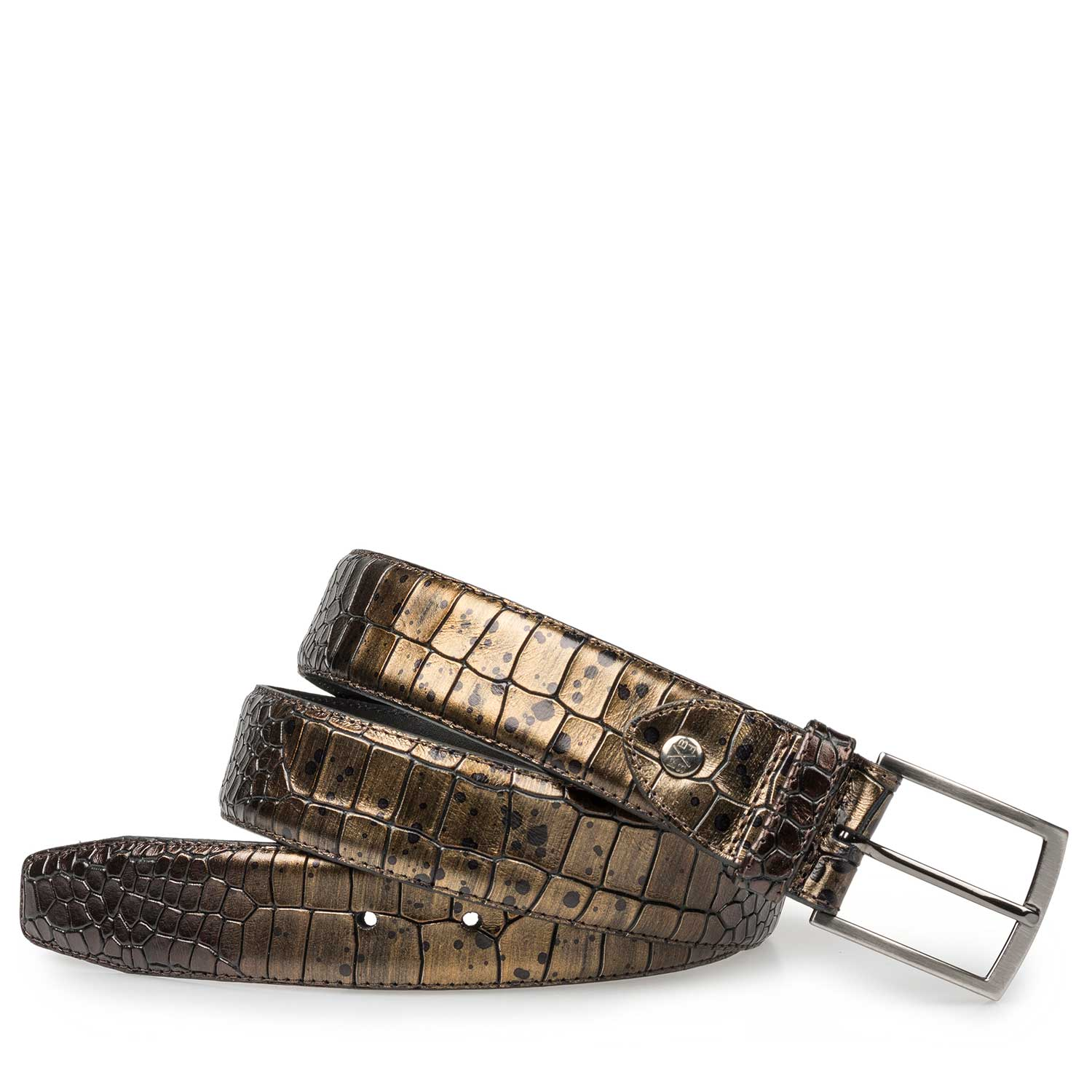 75190/09 - Bronze-coloured leather belt with croco print
