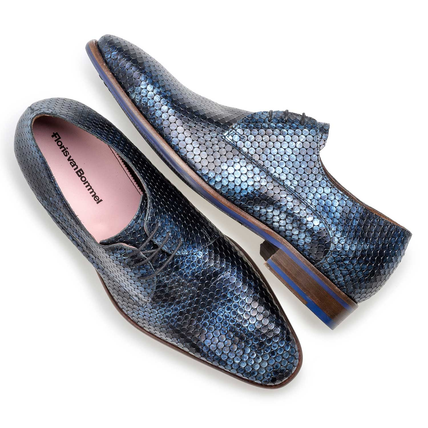 18080/04 - Blue metallic print leather lace shoe