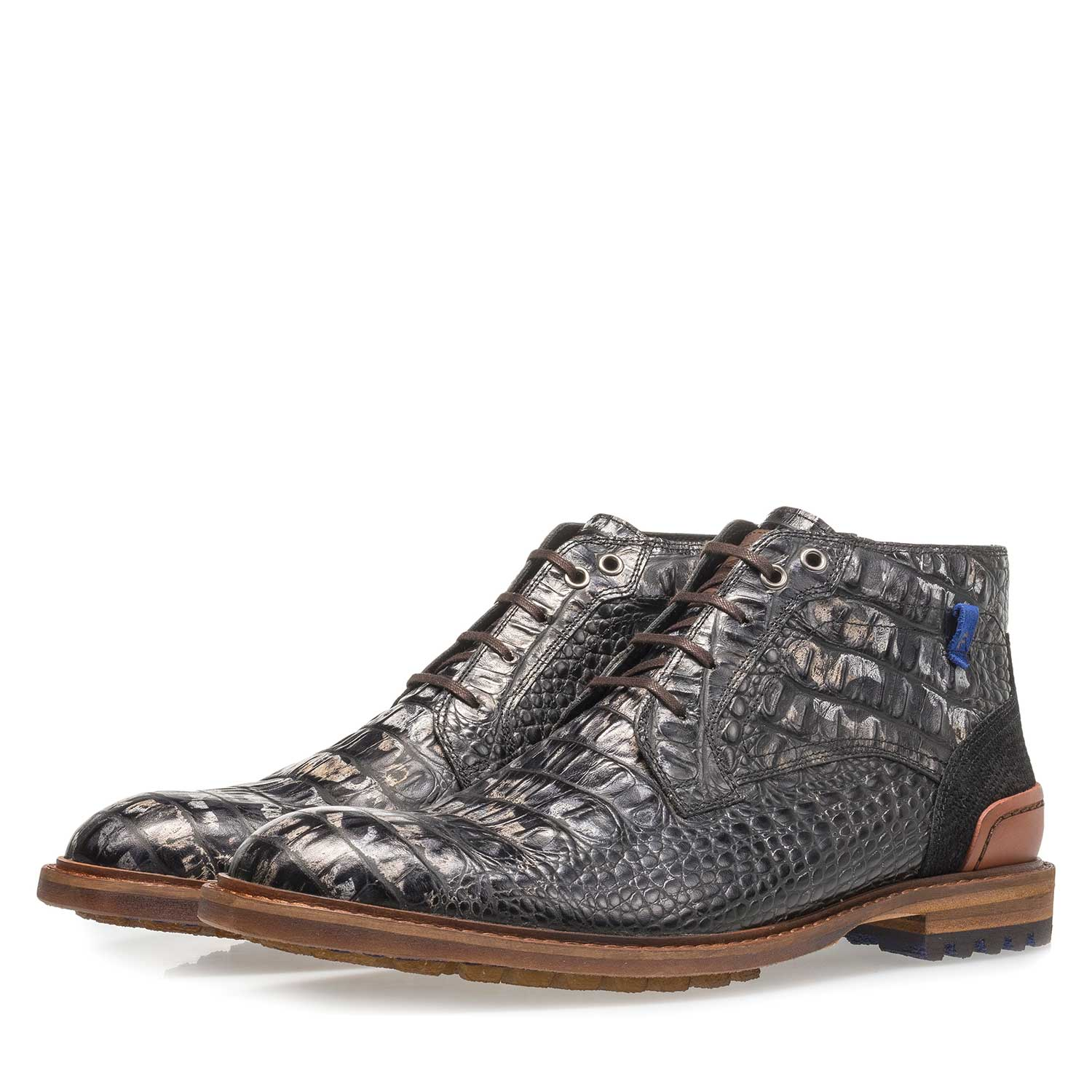 20228/21 - Black leather lace boot with croco print