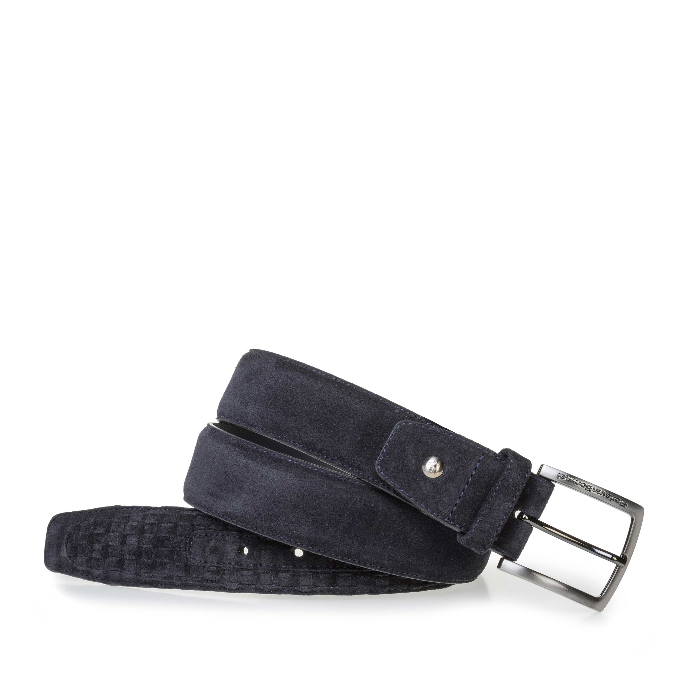 75159/30 - Dark blue braided suede leather belt