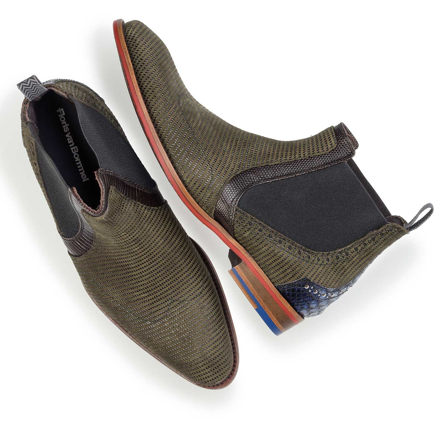 10455/02 - Olive green Chelsea boot made of suede leather