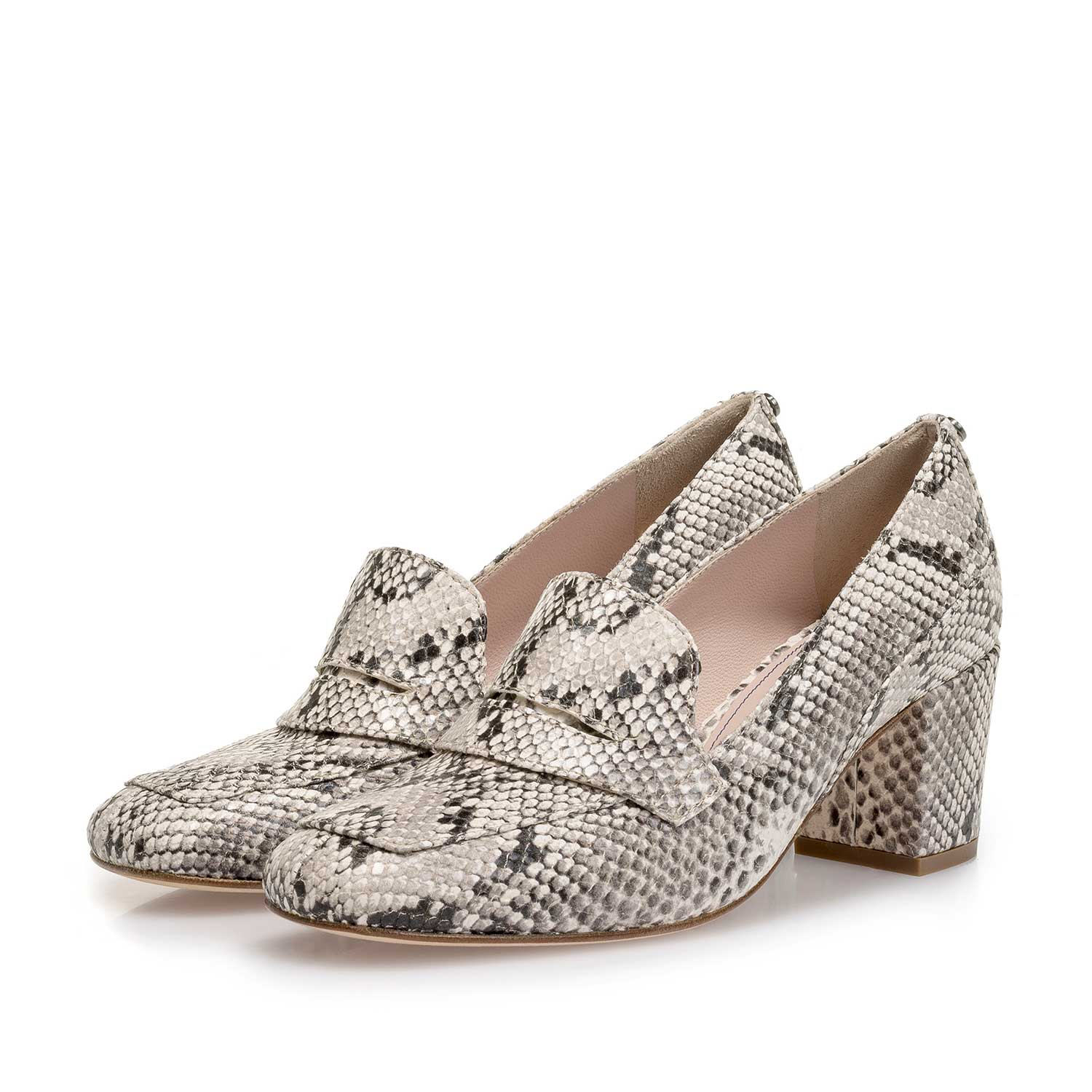85514/04 - White snake print leather pumps