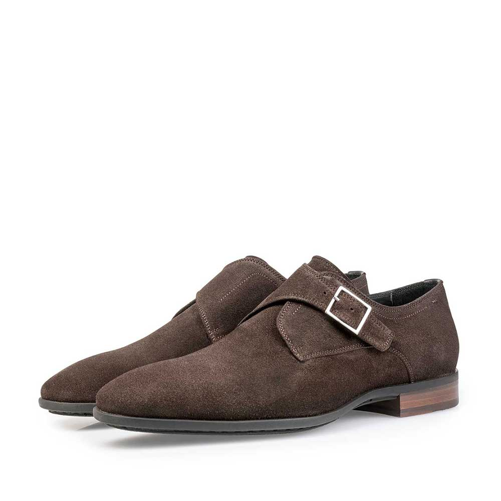 12341/00 - Dark brown waxed suede leather monk strap