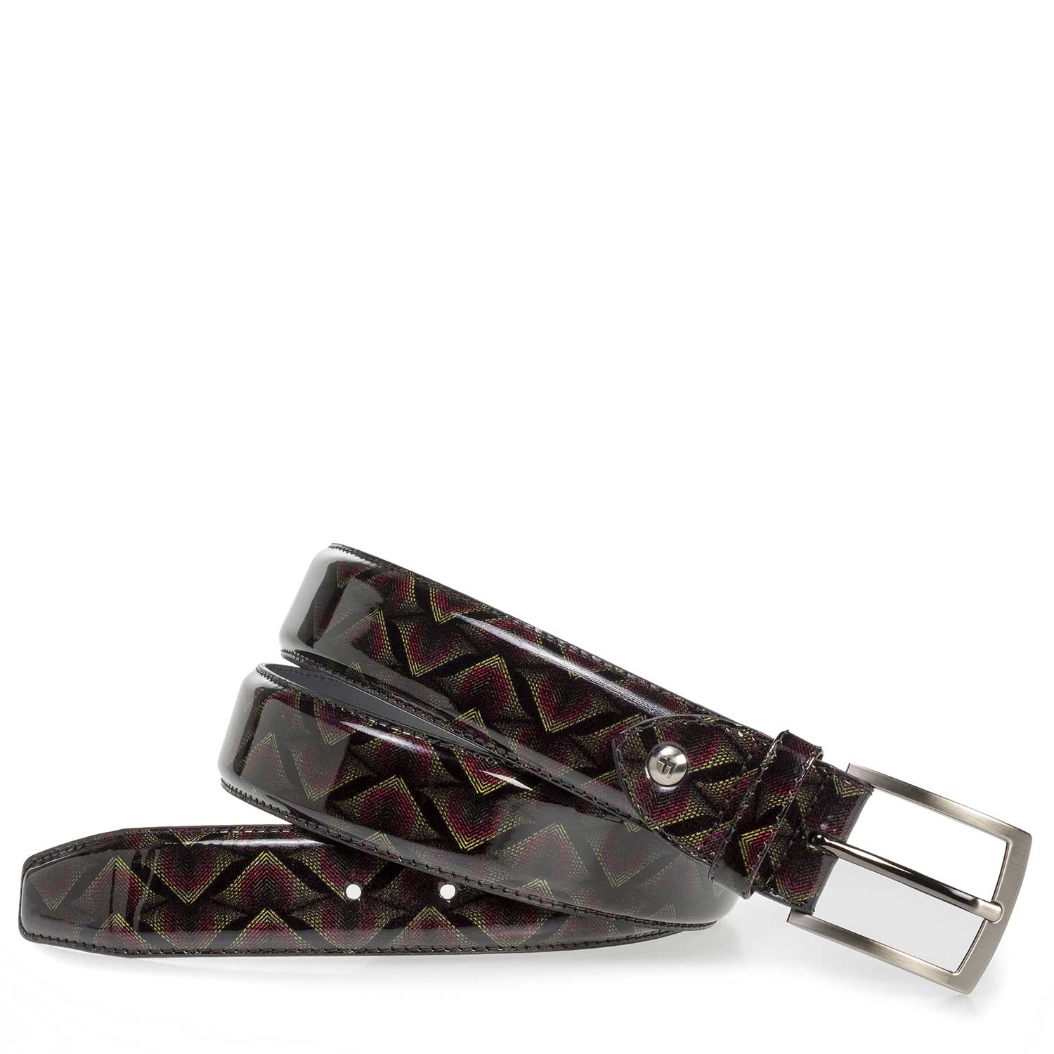 75201/55 - Burgundy red patent leather belt with print