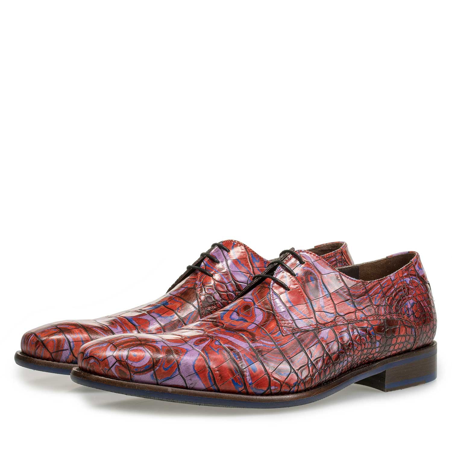 14267/05 - Red Premium croco print lace shoe