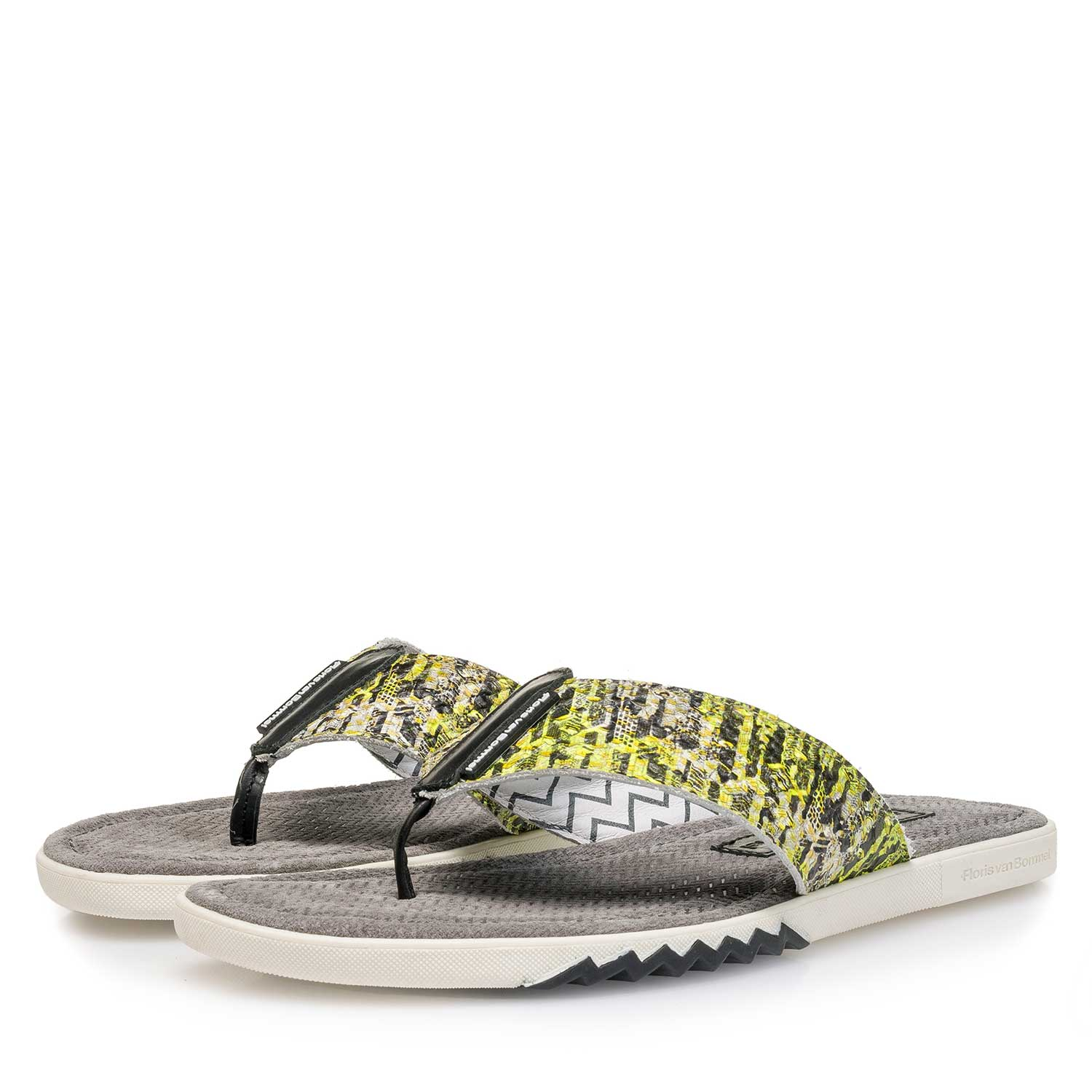 20201/02 - Yellow snake print leather thong slipper